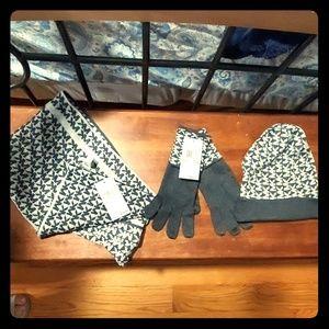 Matching scarf, hat, gloves
